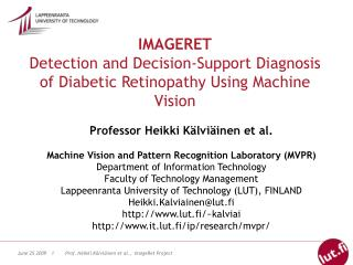 IMAGERET Detection and Decision-Support Diagnosis of Diabetic Retinopathy Using Machine Vision