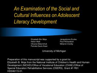 An Examination of the Social and Cultural Influences on Adolescent Literacy Development