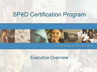 SPēD Certification Program