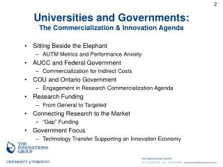 Universities and Governments: The Commercialization & Innovation Agenda