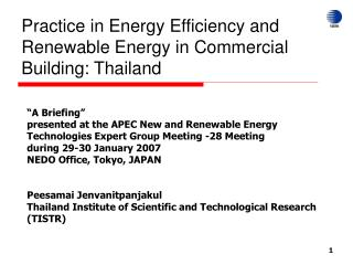 Practice in Energy Efficiency and Renewable Energy in Commercial Building: Thailand