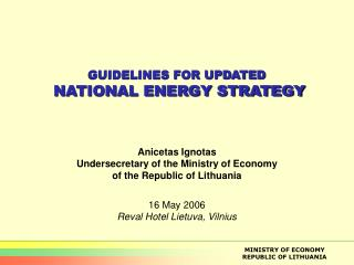 GUIDELINES FOR UPDATED  NATIONAL ENERGY STRATEGY