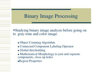 Binary Image Processing