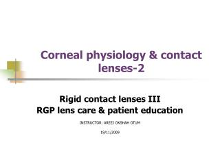 Corneal physiology & contact lenses-2