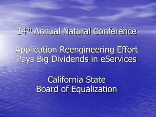 14 th  Annual Natural Conference
