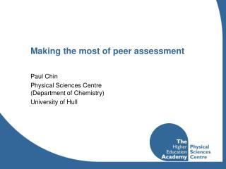 Making the most of peer assessment