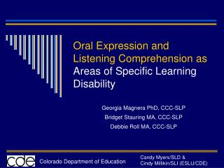 Oral Expression and Listening Comprehension as  Areas of Specific Learning Disability