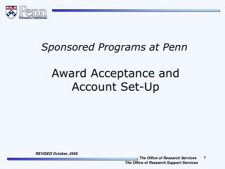 Award Acceptance and  Account Set-Up