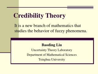 Credibility Theory
