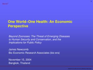 One World–One Health: An Economic Perspective