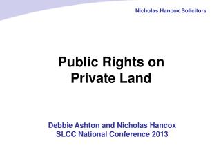 Public Rights on  Private Land
