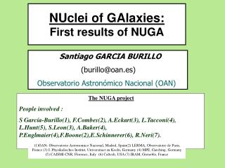 NUclei of GAlaxies: First results of NUGA