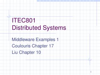 ITEC801 Distributed Systems