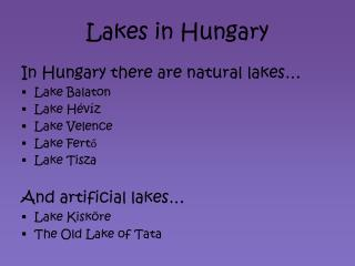 Lakes in Hungary