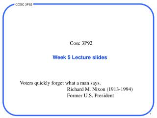 Week 5 Lecture slides