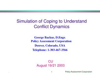 Simulation of Coping to Understand Conflict Dynamics