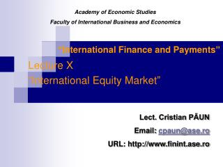 """ International Finance and Payments """