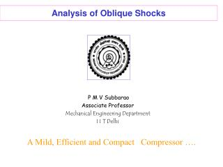 Analysis of Oblique Shocks