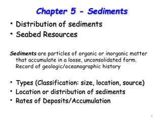 Distribution of sediments Seabed Resources
