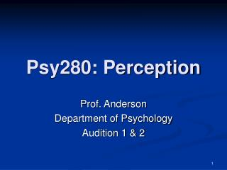 Psy280: Perception