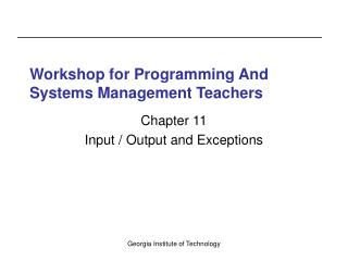 Workshop for Programming And Systems Management Teachers