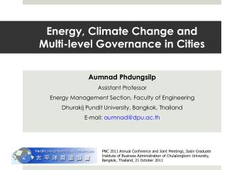 Energy, Climate Change and      Multi-level Governance in Cities