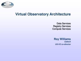 Virtual Observatory Architecture Data Services Registry Services Compute Services
