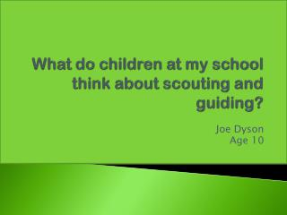 What do children at my school think about scouting and guiding?