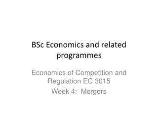 BSc Economics and related programmes