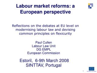 Paul Cullen Labour Law Unit  DG EMPL  European Commission  Estoril,  6-9th March 2008