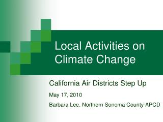Local Activities on Climate Change