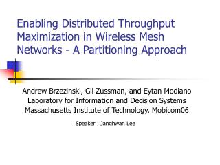 Enabling Distributed Throughput Maximization in Wireless Mesh Networks - A Partitioning Approach