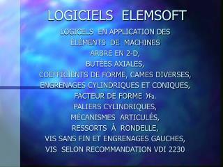 LOGICIELS  ELEMSOFT