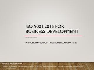ISO 9001:2015 FOR BUSINESS DEVELOPMENT