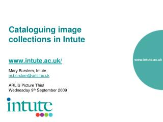 Cataloguing image collections in Intute