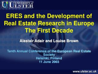 ERES and the Development of Real Estate Research in Europe The First Decade