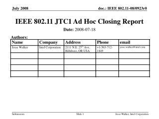 IEEE 802.11 JTC1 Ad Hoc Closing Report