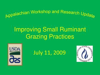 Appalachian Workshop and Research Update