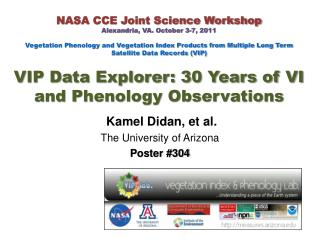 NASA CCE Joint Science Workshop Alexandria, VA. October 3-7, 2011