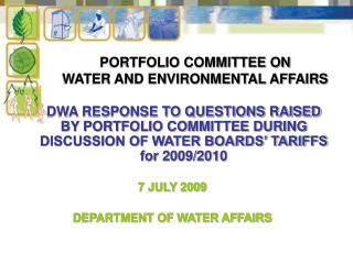 PORTFOLIO COMMITTEE ON  WATER AND ENVIRONMENTAL AFFAIRS