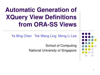 Automatic Generation of XQuery View Definitions from ORA-SS Views