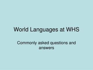 World Languages at WHS