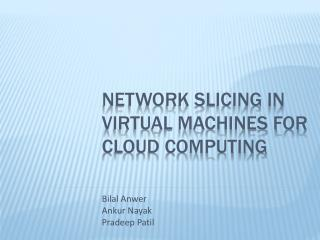 Network Slicing in Virtual Machines for Cloud Computing