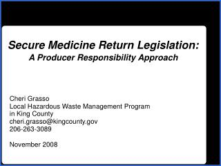 Secure Medicine Return Legislation: A Producer Responsibility Approach