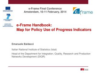 e-Frame Handbook : 	Map  for Policy  Use  of  Progress Indicators Emanuele Baldacci