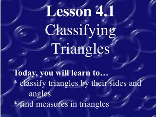 Lesson 4.1 Classifying Triangles