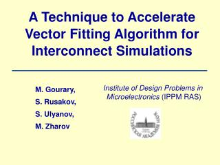 A Technique to Accelerate Vector Fitting Algorithm for Interconnect Simulations