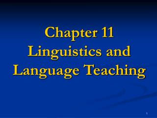 Chapter 11  Linguistics and Language Teaching
