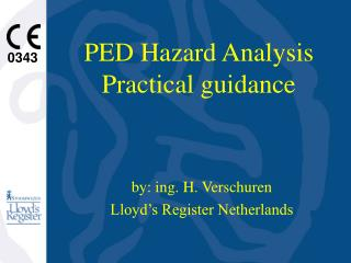 PED Hazard Analysis Practical guidance