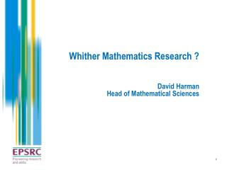 Whither Mathematics Research ?